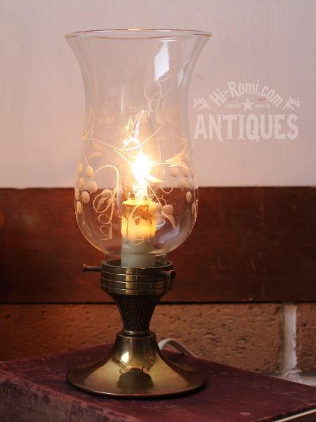 USAガラスシェード真鍮製テーブルランプ/アンティーク照明ライト 2011/03/14