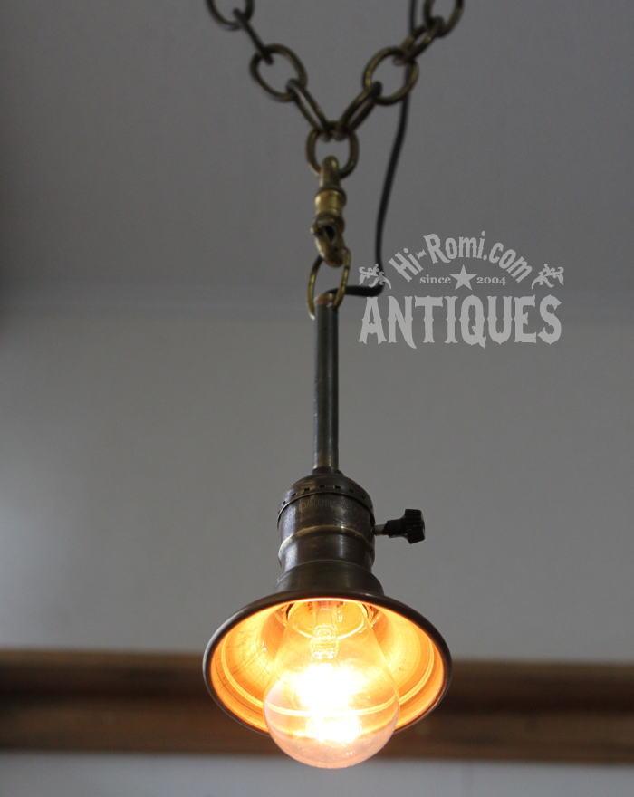 USA工業系吊下げシェード付き真鍮ランプ/アンティーク照明ライト 2011/03/14