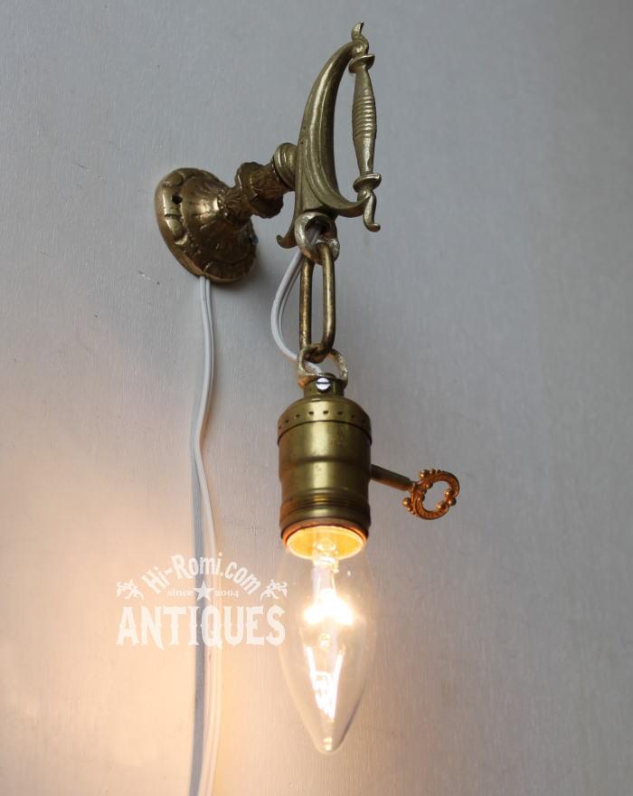 ヴィンテージ剣ハンドル壁掛真鍮ランプ/アンティーク照明ライト 2011/03/14