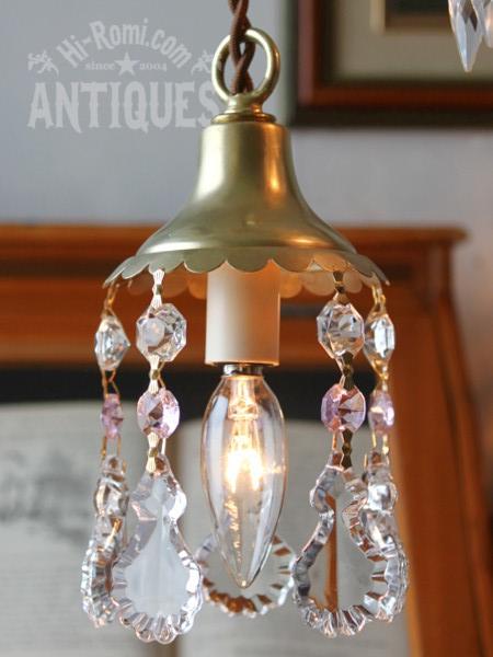 花形真鍮シェードフレンチプリズムランプ/ピンク/アンティーク