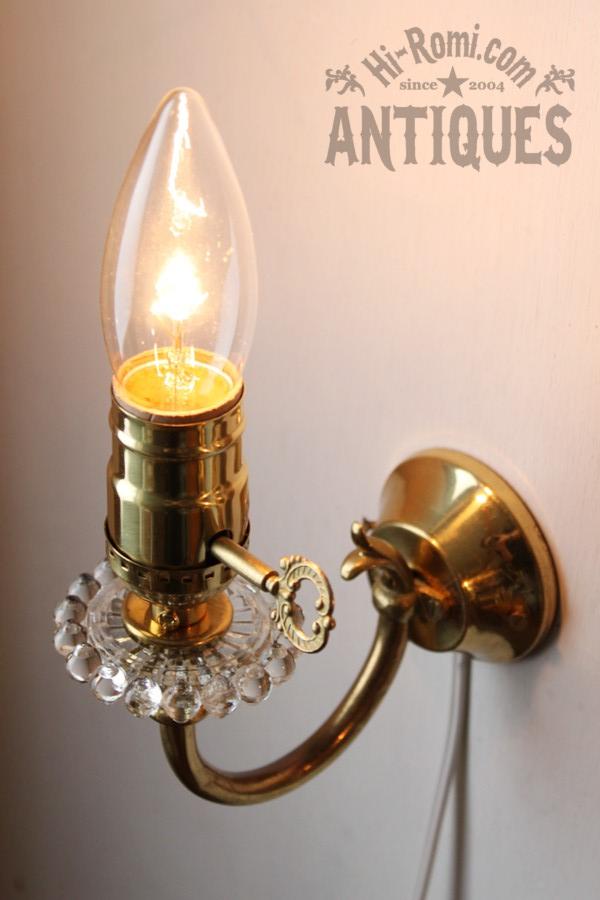 ヴィンテージ鍵付ガラス飾り真鍮製ウォールランプA/壁掛け照明