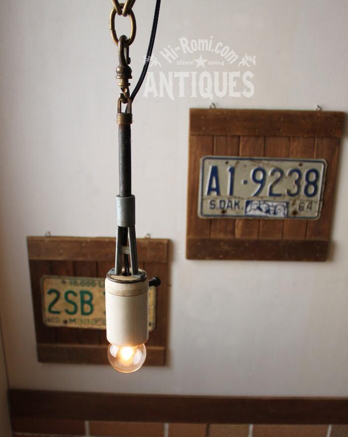 USA工業系LEVITONポール吊下げランプ陶器ソケット/アンティーク