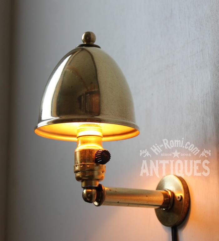 工業系シェード付真鍮製壁掛ランプLEVITONソケット/アンティーク