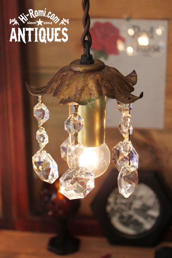 花形シェードミニシャンデリアプリズムランプ/アンティーク照明