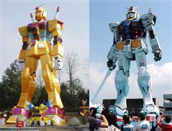 """ガンダムの偽物_中国四川省成都市の遊園地に登場したガンダムにそっくりな巨大ロボット立像(左)と「静岡ホビーフェア」で展示された本物の""""等身大""""ガンダム(C)創通・サンライズ"""