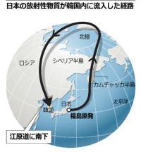 日本の放射性物質が韓国内に流入した経路978073690945349261