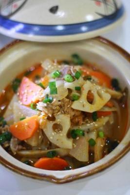 根菜と豚肉のキムチ煮込み3