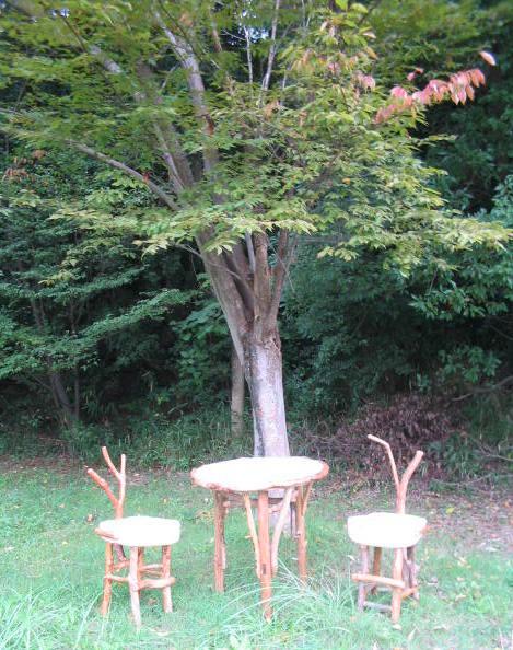 森の中の流木家具