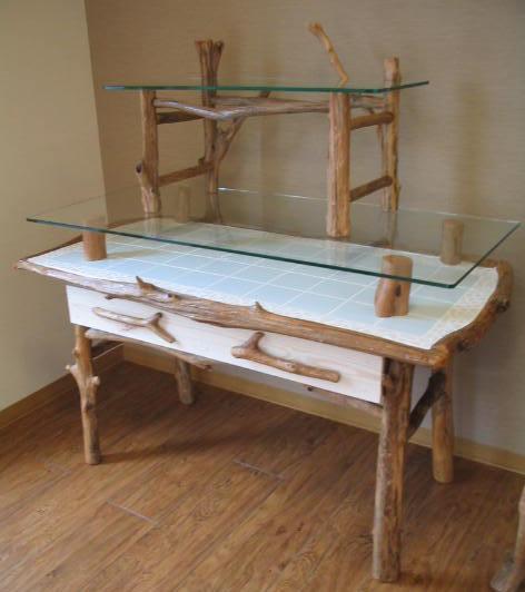 流木ガラステーブル