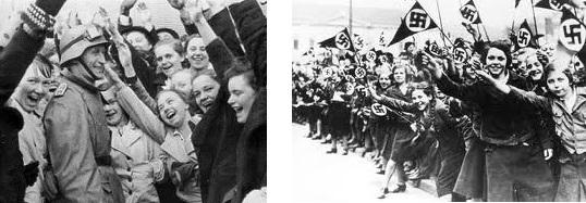 熱狂的にドイツ軍の進駐を迎えるオーストリア市民