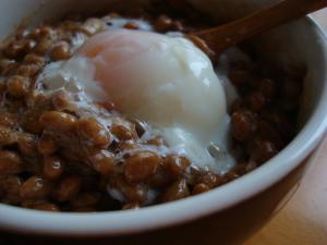 温泉卵の納豆