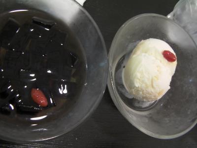 仙草ゼリー&栗アイス