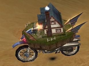 バイクに乗った家