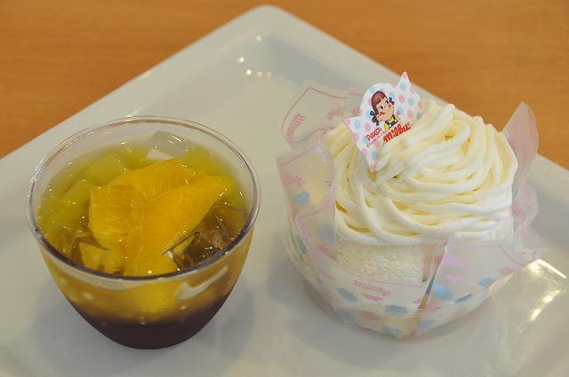 DSC_0240 三皿目 カクテルカラーゼリー(カシス&オレンジ) 300円、 ミルキーモンブラン 300円