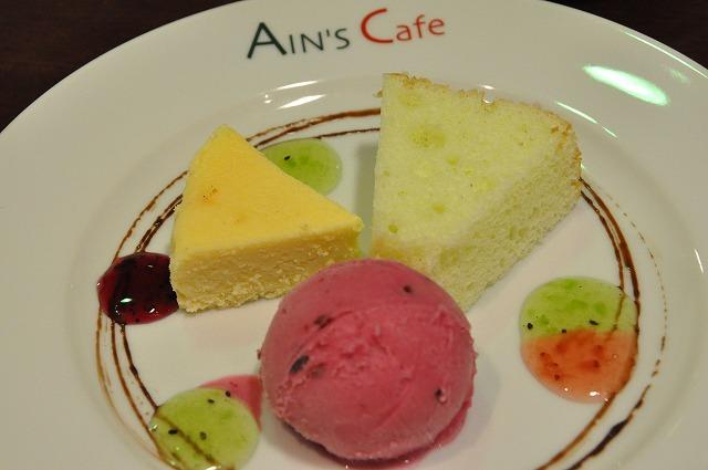 DSC_1462 九皿目 ニューヨークチーズケーキ、気まぐれシフォンケーキ、カシスシャーベット