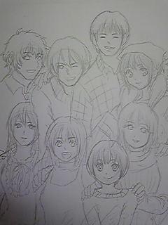 鈴木家の肖像、下書き。