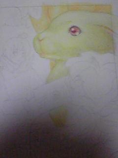 旦那作業・ウサギさんと背景の木をちょっと塗ってます。
