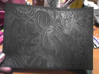 嫁画・切り絵の下書き。黒い紙にシャーペンで直接。