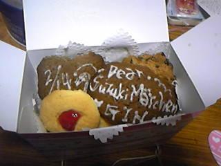 旦那用クッキーボックス中身。文字入りのクッキーもあります!