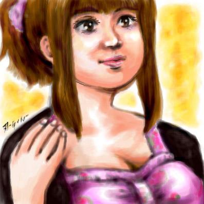 旦那画・メルヒェン嫁の似顔絵。製作途中のワンピースを着せてある。