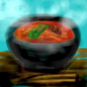 旦那様再現画・嫁が中華飯店で食べた坦々麺。すごく美味だったのに写真を忘れてしまった。