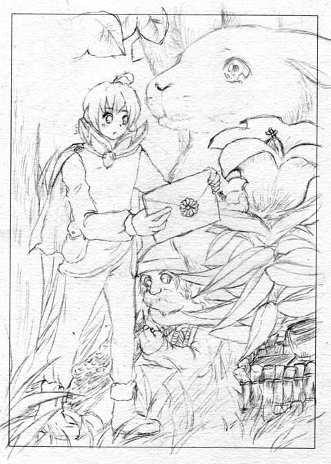旦那画・絵本ちっくな森の妖精さん。嫁の技法を真似した。
