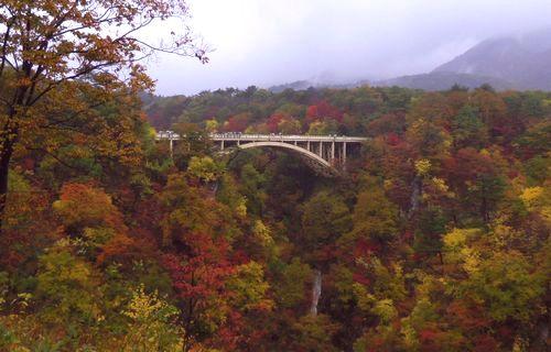 紅葉2012鳴子峡1大深沢橋
