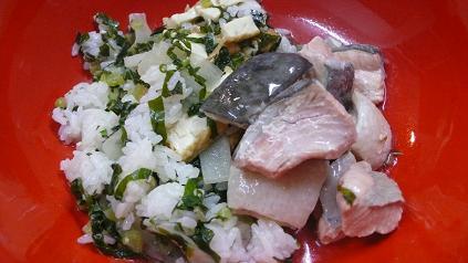 大根のまぜご飯と鮭の粗煮