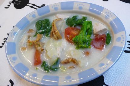 蒸しホタテと菜の花のクリーム煮