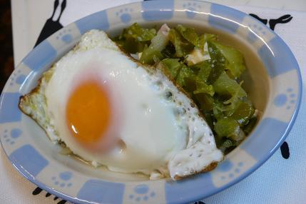 目玉焼きとキャベツの外葉のスープ煮