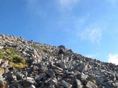 岩屑の斜面