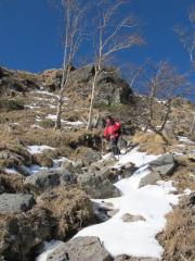 露岩の急斜面