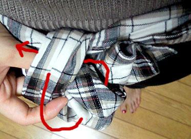 リボン結びをする要領で結ぶ