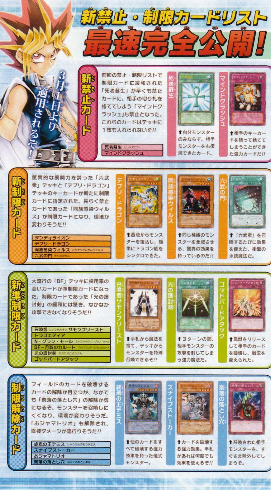 遊戯王  2011年3月新禁止制限