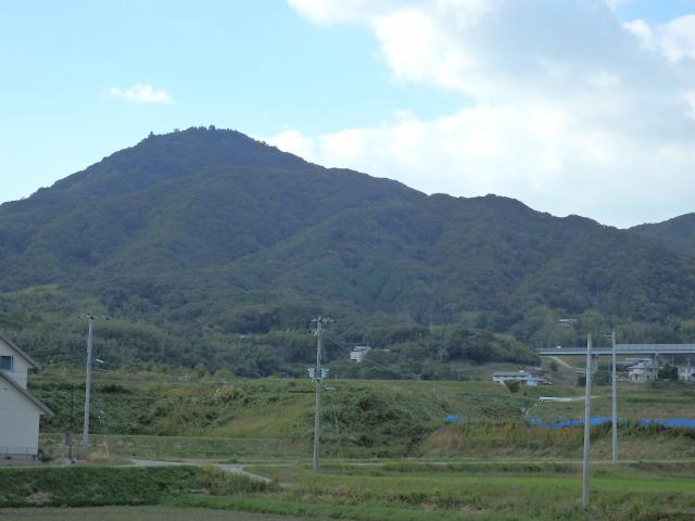 山麓から先山の山頂を仰ぎ見る