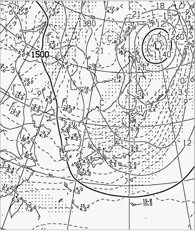 2013年11月11日09時 850hPa高度・気温解析