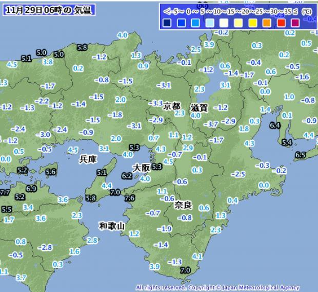 2013年11月29日午前6時の近畿地方気温分布