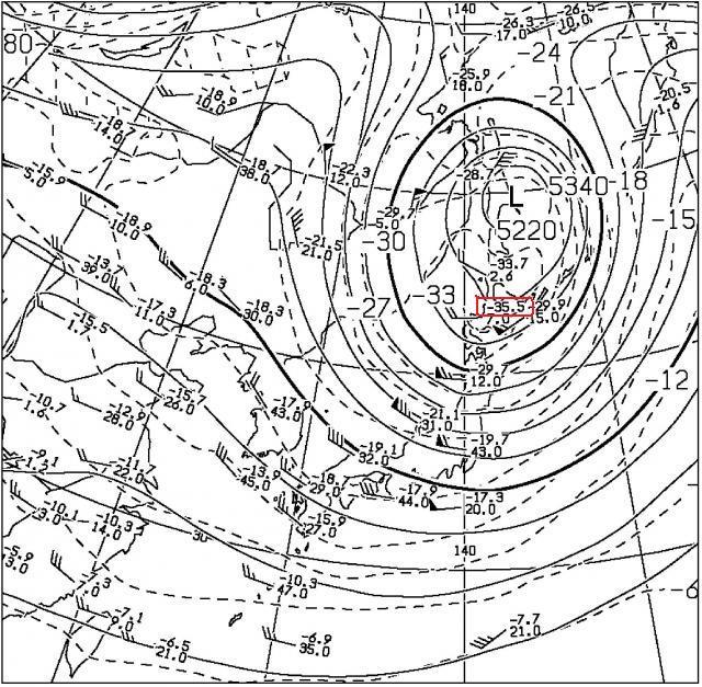 2014年10月28日09時の500hPa高度と気温