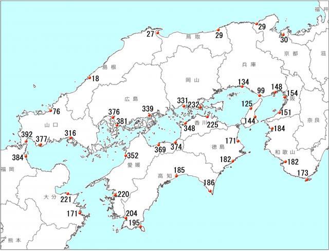 瀬戸内海各地の干潮と満潮の潮位差 214年11月8日