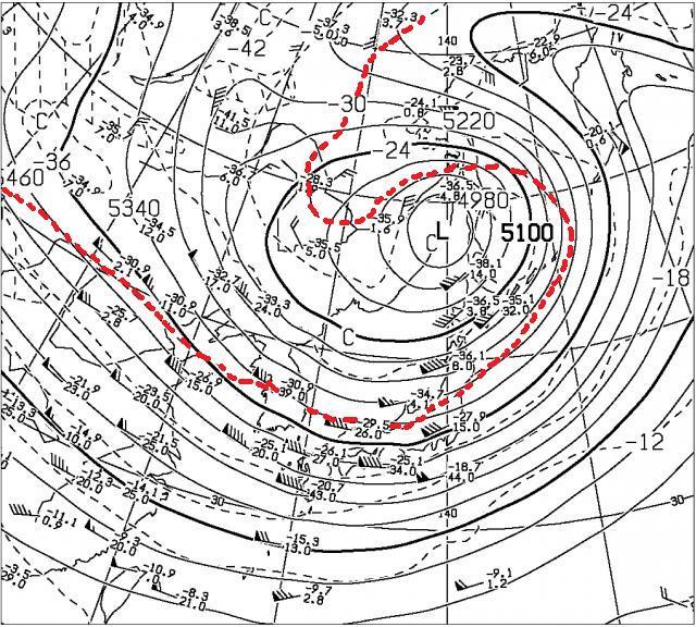 12月2日21時の500hPa高度と気温の図