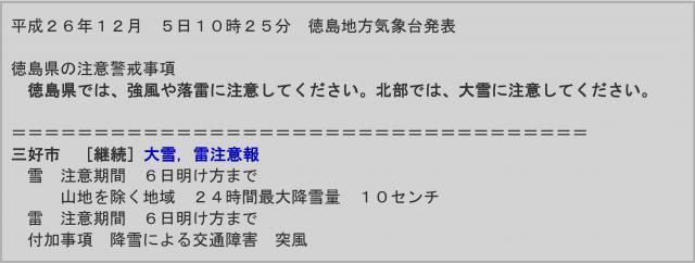 徳島地方気象台の発表