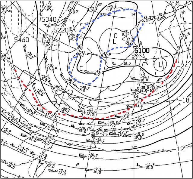 2014年12月12日09時 500hPa高層天気図