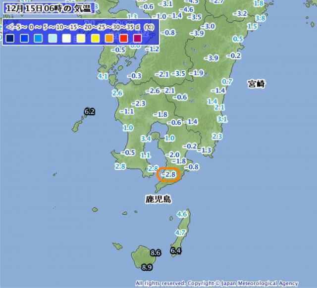 2014年12月15日06時の九州南部気温分布