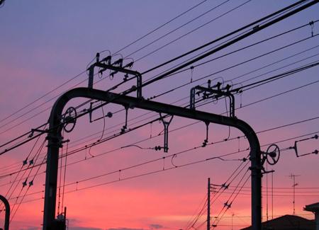 4日の夕焼けの色はピンクっぽい・・・