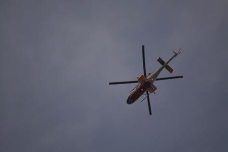 駅伝を知らせるヘリコプター