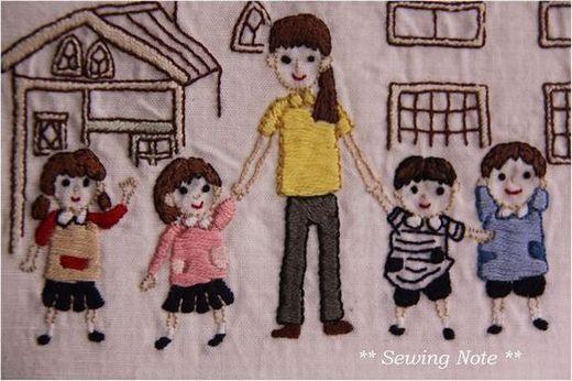 幼稚園 子供たち 刺繍