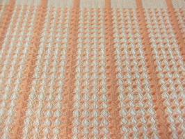 8枚綜絖のワッフル織り、ヨコ糸は朱色