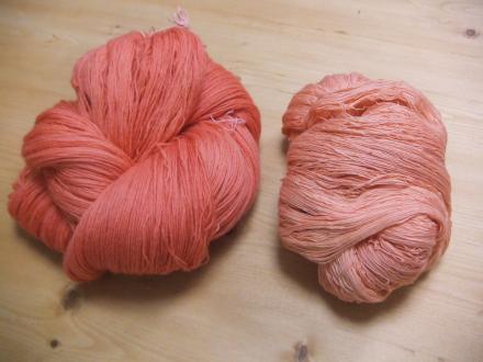 インド茜mixで染めた糸