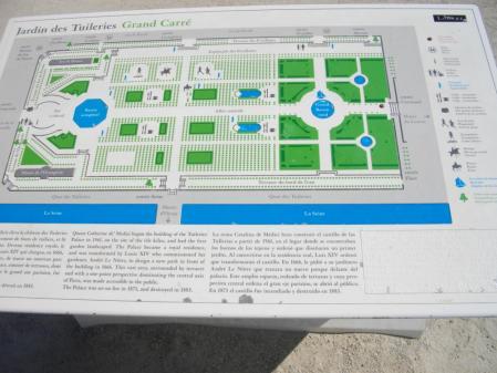 ティユルリー公園の案内図