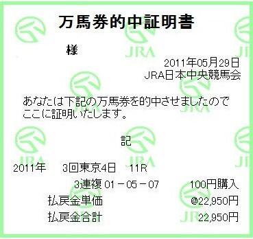 20110529東京11R的中